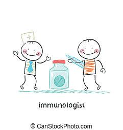 immunologist, 給, 藥丸, 到, a, 病人, 由于, 溫度計