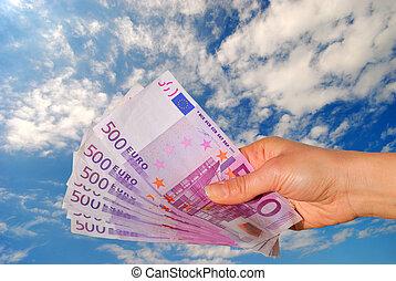 imod, penge, blå himmel, hånd