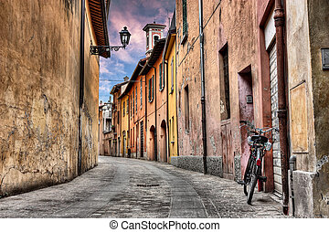 Imola, Bologna, Italy: narrow street in the old town
