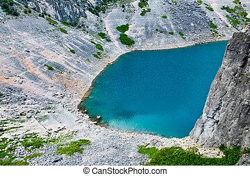 imotski, lago azul, em, pedra calcária, cratera, perto,...