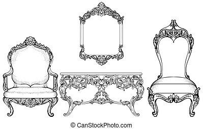 style riche furniture fauteuil bois set francais clipart vectoriel rechercher. Black Bedroom Furniture Sets. Home Design Ideas