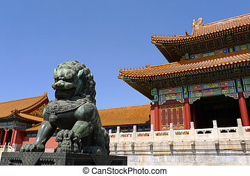 impérial, pierre, ville, dynastie, gardien, interdit, suprême, lion), ming, (shishi, lion, harmonie, beijing, porte, china., ou