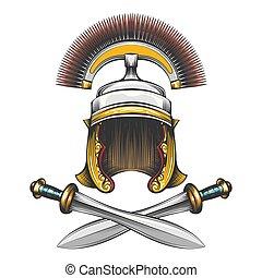 império romano, capacete, com, espadas