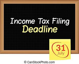 impôt, -, 31ème, écrit, date limite, revenu, juillet, classement, tableau noir