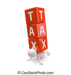 impôt, 3d, mot, gens