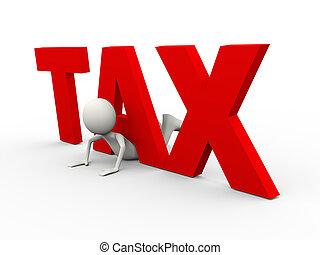impôt, 3d, mot, homme, piégé