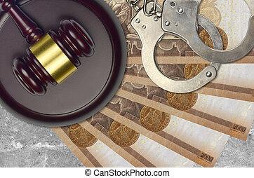 impôt, action éviter, procès, desk., marteau, tribunal, police, forint, hongrois, judiciaire, juge, 2000, menottes, factures, concept, ou, bribery.