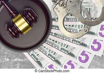 impôt, action éviter, procès, desk., marteau, tribunal, police, juge, 5, judiciaire, bribery., menottes, nous, factures, concept, dollars, ou