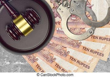 impôt, action éviter, procès, desk., marteau, tribunal, police, juge, judiciaire, rupees, menottes, indien, factures, concept, ou, 10, bribery.