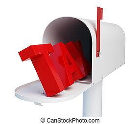 impôt, boîte lettres, fond, courrier, blanc