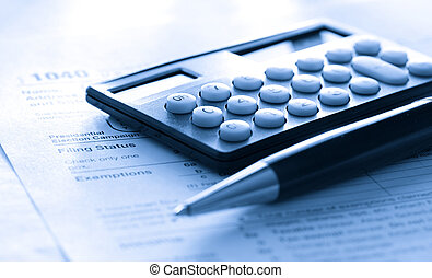 impôt, calculatrice, stylo, formulaire