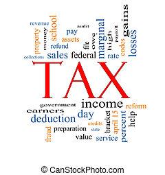 impôt, concept, mot, nuage