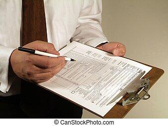 impôt, financier, paperasserie, formes