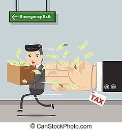 impôt, gouvernement, calcul, concept., courant, illustration, état, homme affaires, loin, vecteur, tax., paiement, eps10, temps, taxation,