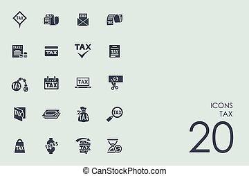 impôt, icônes, ensemble