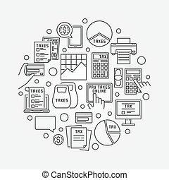 impôt, linéaire, illustration, rond