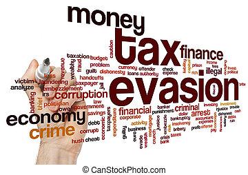 impôt, mot, évasion, nuage