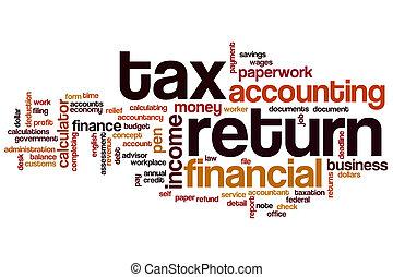 impôt, mot, retour, nuage
