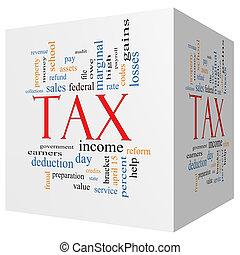 impôt, nuage, cube, 3d, concept, mot