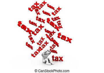 impôt, pluie, impôts, homme affaires