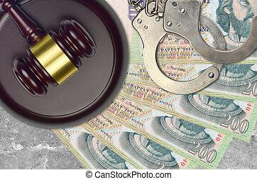 impôt, procès, police, forint, action éviter, judiciaire, menottes, juge, tribunal, ou, bribery., factures, desk., hongrois, marteau, 200, concept