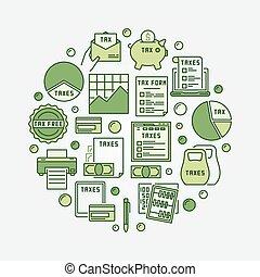 impôt, vert, rond, illustration
