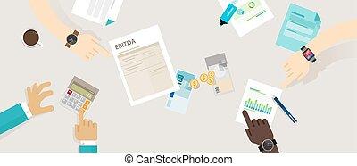impôts, revenus, dépréciation, amortization, intérêt,...