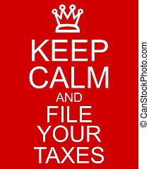 impôts, signe, calme, fichier, garder, ton, rouges