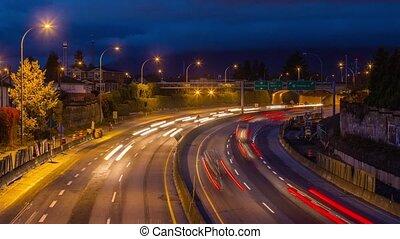 impact, élevé, occupé, trafic, autoroute