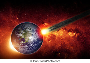 Impact - Abstract scientific background - asteroid impact...
