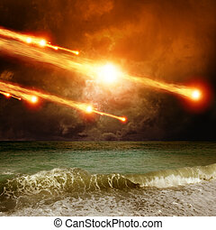 Impact - Abstract scientific background - asteroid, ...