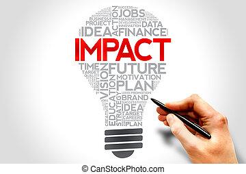 IMPACT bulb word cloud, business concept