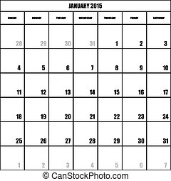 IMPACT CALENDAR PLANNER MONTH JANUARY 2015 ON TRANSPARENT BACKGROUND