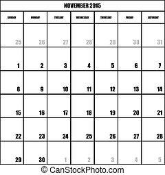 IMPACT CALENDAR PLANNER MONTH NOVEMBER 2015 ON TRANSPARENT BACKGROUND