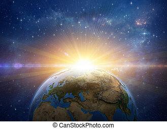 impact, explosion, espace, levers de soleil, planète, météore, la terre