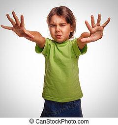 impact, gris, abus, conjugal, mains, violence, violence, protégé, enfant, girl, effrayé