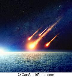 impact, jugement, mondiale, astéroïde, fin, jour