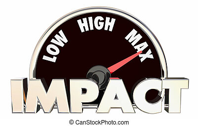 Impact Low High Maximum Huge Effect Measurement Speedometer 3d Illustration