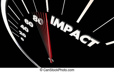 Impact Make Big Effect Felt Speedometer Word 3d Illustration