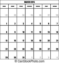 impact, planificateur, mars, mois, fond, 2015, calendrier, transparent