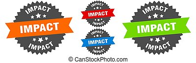 impact sign. round ribbon label set. Seal