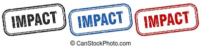 impact square isolated sign set. impact stamp