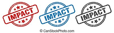 impact stamp. impact round isolated sign. impact label set