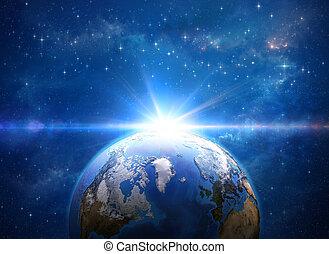 impact, terre planète, météore, espace
