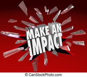 impacto, marca, rotura, vidrio, importante, palabras, ...