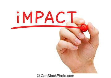 impacto, marcador, rojo