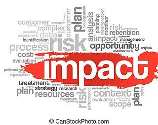 impacto, palabra, nube