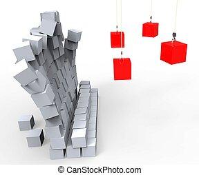 impacto, pared, actuación, demolición, destrucción