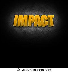 impacto, texto, concepto, 3d