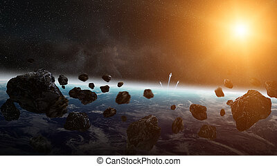 impacto, tierra de planeta, meteorito, espacio